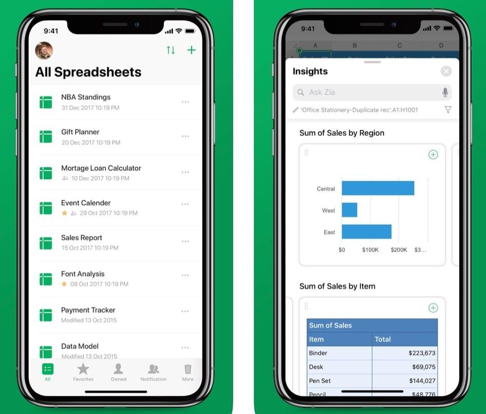Zoho Sheet - Spreadsheet App