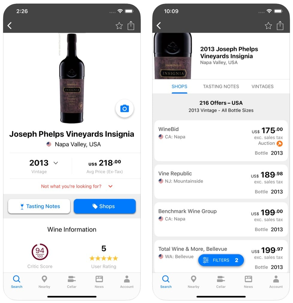 Wine-Searcher app